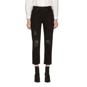 Frame Cropped Distressed Black High Rise Jeans 31